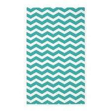 Turquoise and white Chevron 3'x5' Area Rug