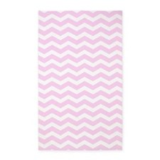 Pink and white Chevron 3'x5' Area Rug