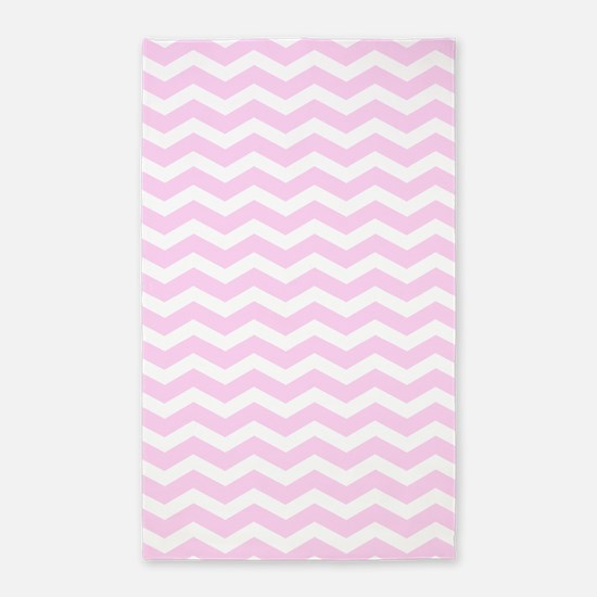 Pink And White Chevron 3 X5 Area Rug