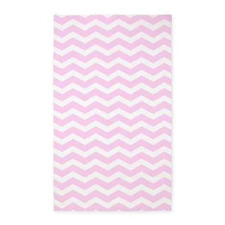 Great Pink And White Chevron 3u0027x5u0027 Area Rug