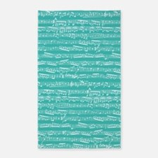 Turquoise Musical notes 3'x5' Area Rug
