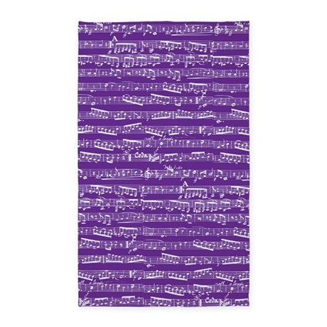 Purple Musical notes 3'x5' Area Rug