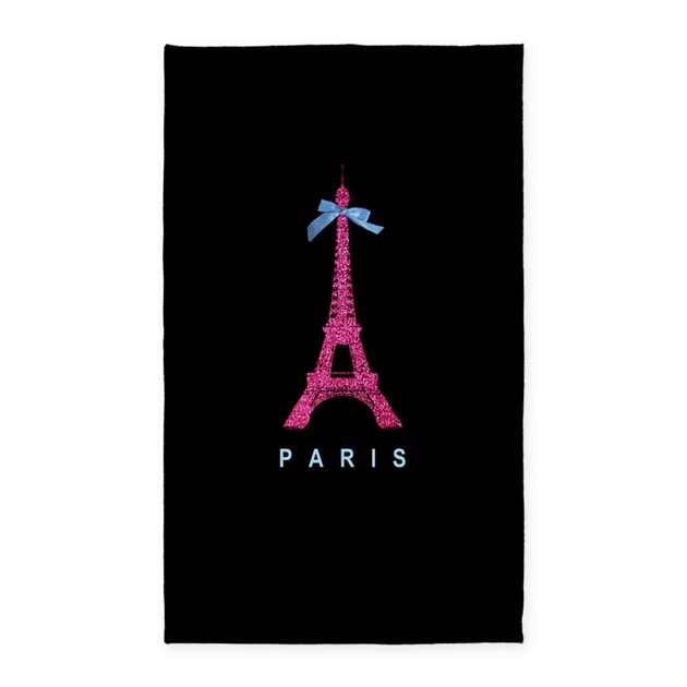 Hot Pink Paris Eiffel Tower 3 X5 Area Rug By