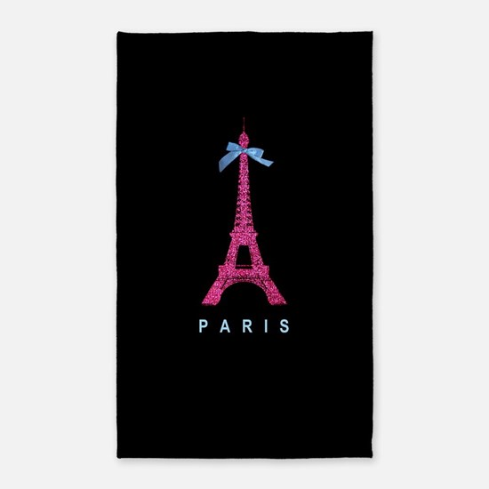 Hot pink Paris Eiffel tower 3'x5' Area Rug
