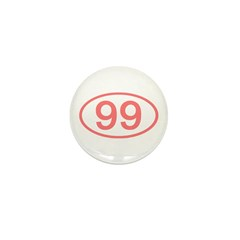 Number 99 Oval Mini Button (10 pack)