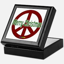 Merry Christmas Red Peace Sign Keepsake Box