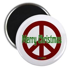 """Merry Christmas Red Peace Sign 2.25"""" Magnet (10 pa"""