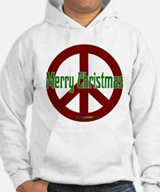 Merry Christmas Red Peace Sign Hoodie