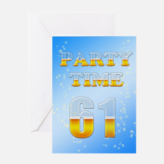 61st birthday party beer Greeting Card