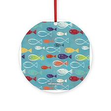 Cute Summer Beach Fish Ornament (Round)