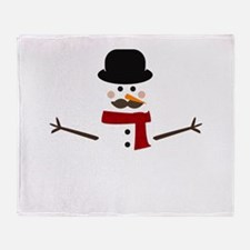 Mustache Snowman Throw Blanket