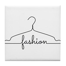 clothes hanger drawing with word fashion Tile Coas
