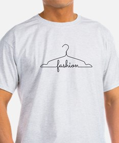 clothes hanger drawing with word fashion T-Shirt