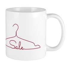 red clothes hanger drawing with word sale Mug
