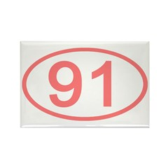 Number 91 Oval Rectangle Magnet