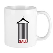 clothes hanger with bar code red sale tag Mug