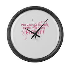 Pink Ribbon Fight Large Wall Clock