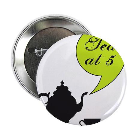 "vintage tea pot and cup, tea at 5 2.25"" Button"