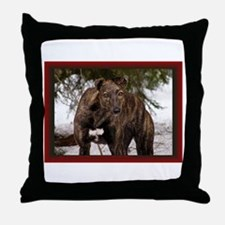 Red Brindle Greyhound Throw Pillow