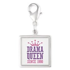 Drama Queen Since 1990 Silver Square Charm