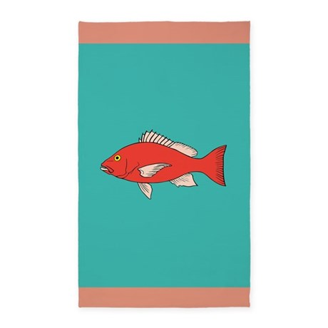 red and turquoise goldfish 3 39 x5 39 area rug by inspirationzstore. Black Bedroom Furniture Sets. Home Design Ideas