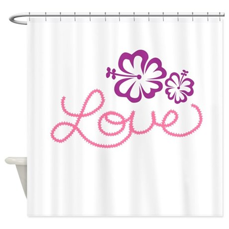 love in pink with purple flowers shower curtain by