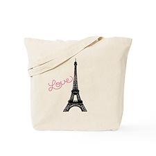 Pink Love and Paris Tote Bag