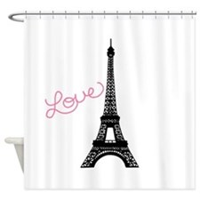 Pink Love and Paris Shower Curtain