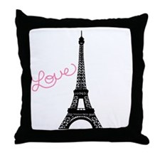 Pink Love and Paris Throw Pillow