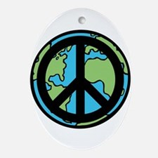Peace on Earth in Black Ornament (Oval)