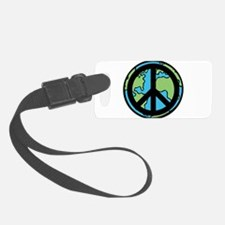 Peace on Earth in Black Luggage Tag