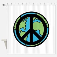 Peace on Earth in Black Shower Curtain