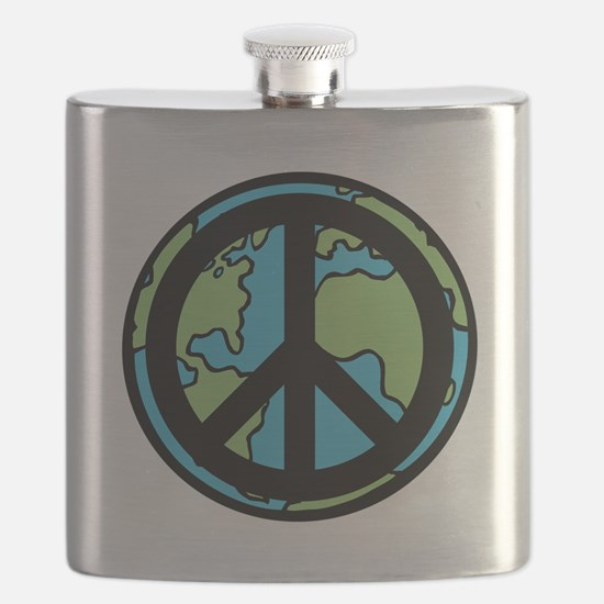 Peace on Earth in Black Flask