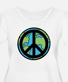 Peace on Earth in Black Plus Size T-Shirt