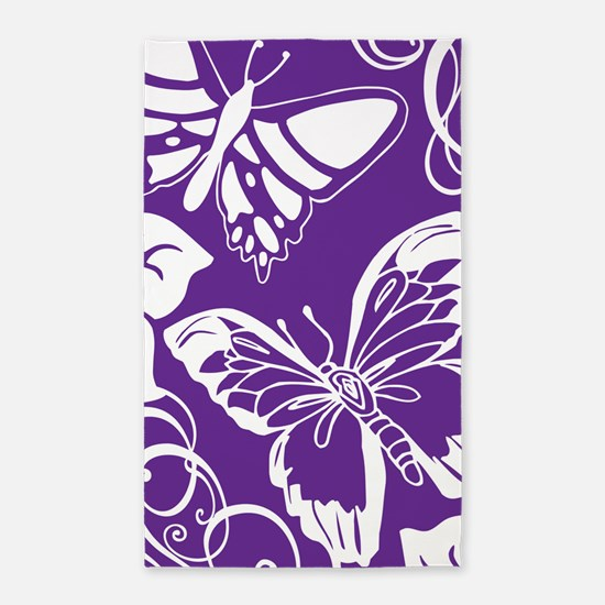 Purple Butterflies 3'x5' Area Rug