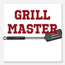 "Grill Master Spatula in Red Square Car Magnet 3"" x"