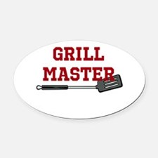 Grill Master Spatula in Red Oval Car Magnet