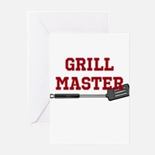 Grill Master Spatula in Red Greeting Cards (Pk of