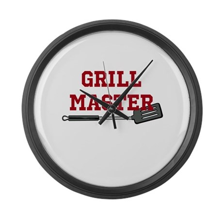 Grill Master Spatula in Red Large Wall Clock