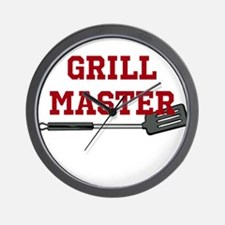 Grill Master Spatula in Red Wall Clock