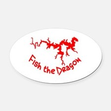 FISH THE DRAGON Oval Car Magnet