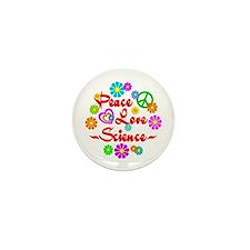 Peace Love Science Mini Button