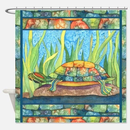 Tie Dye Turtle Watercolor Shower Curtain
