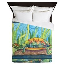 Tie Dye Turtle Watercolor Queen Duvet Cover
