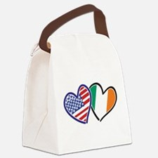 USA Ireland Heart Flags Canvas Lunch Bag