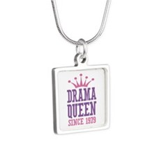 Drama Queen Since 1979 Silver Square Necklace