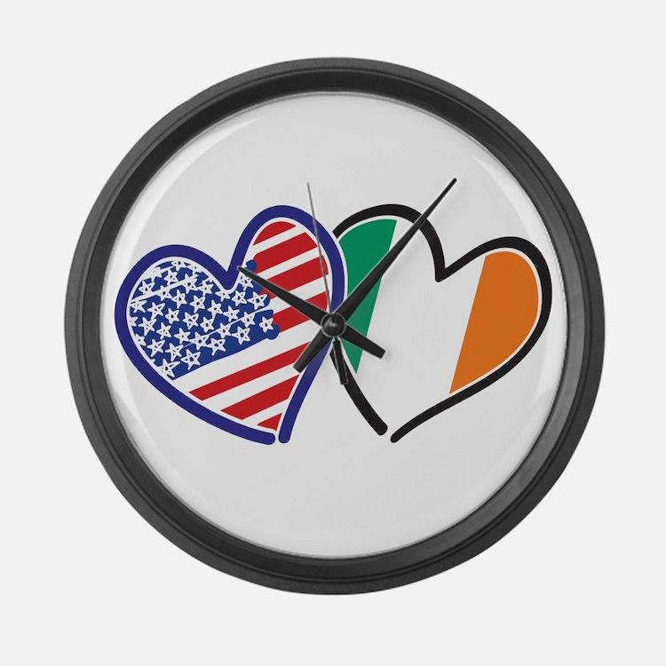 USA Ireland Heart Flags Large Wall Clock