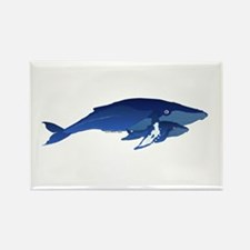 Humpback Whale Mom and Baby 2 Rectangle Magnet