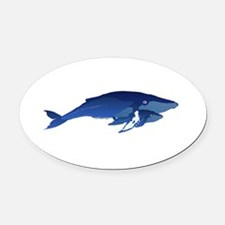 Humpback Whale Mom and Baby 2 Oval Car Magnet