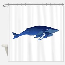 Humpback Whale Mom and Baby 2 Shower Curtain
